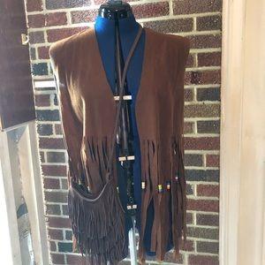 Hippy vest & purse brown long fringes